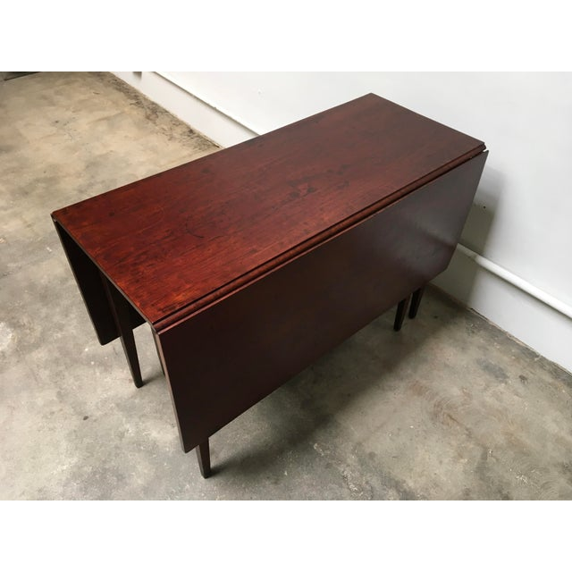 Red American Antique Gate Leg Table Drop-Leaf Console For Sale - Image 8 of 11