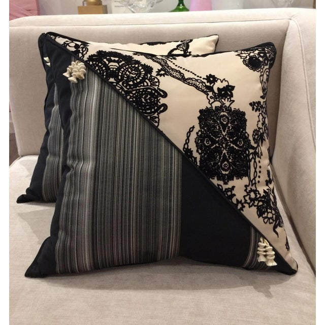 DWM   MALOOS Contemporary Dia Noire Flocked Pillows - a Pair For Sale - Image 13 of 13