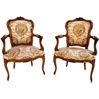 Late 19th Century Antique Louis XVI Style French Bergeres - a Pair For Sale