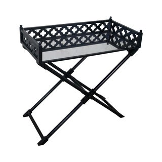 Ebonized Folding Tray Top Serving Table For Sale