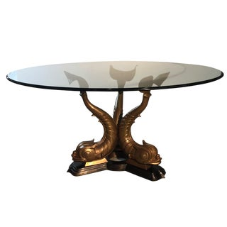 Mid-Century Bronze Triple Dolphin Base Glass Top Table For Sale