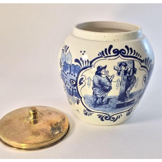 Hand Painted Delft Blue & White Porcelain Jar - Image 4 of 6