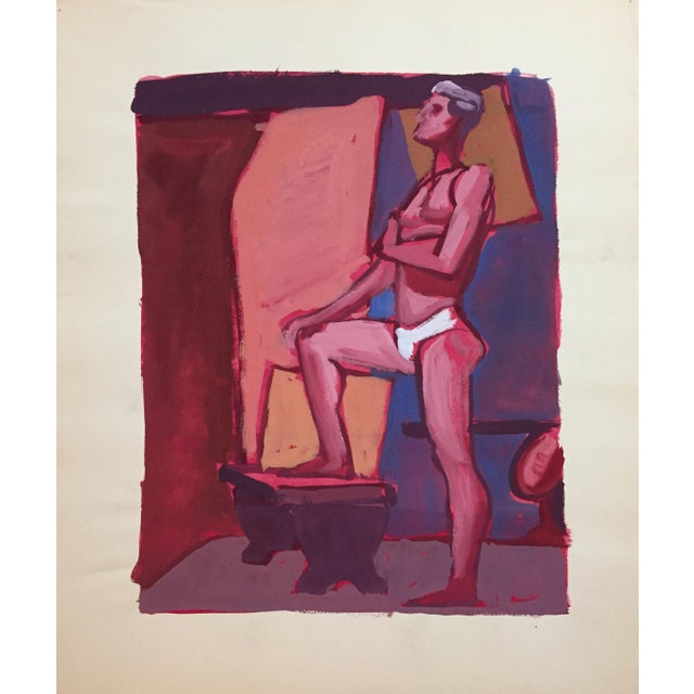 Gouache Mid Century Bay Area Figurative Painting Male Standing For Sale - Image 7 of 7