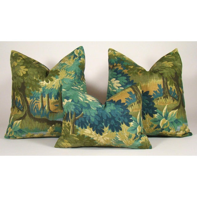Olive Verdure Print Linen Lumbar Pillow Cover For Sale - Image 8 of 9