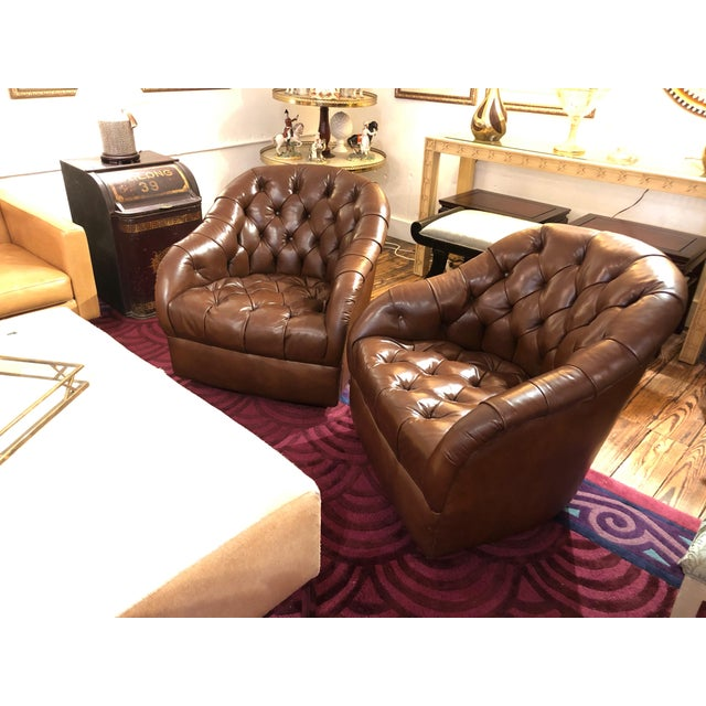 Leather 1970s Mid-Century Modern Tufted Leather Swivel Club Chairs - a Pair For Sale - Image 7 of 11