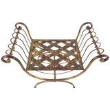 Image of Vintage Modern Brass Stool For Sale