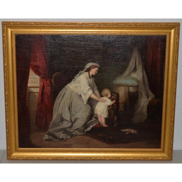Robert Julius Beyschlag (Germany, 1838-1903) Mother & Child Oil Painting C.1870 For Sale - Image 9 of 9