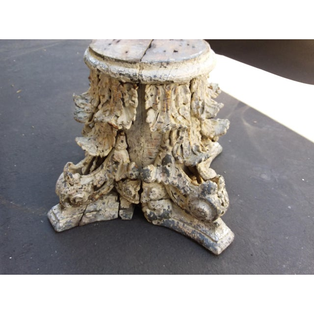 American Classical Antique Iron and Wood Corinthium Column Base For Sale - Image 3 of 11