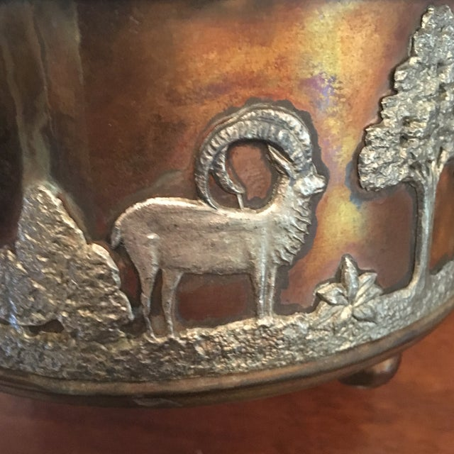 Metal African Wildlife Copper and Silverplate Jardinere For Sale - Image 7 of 9