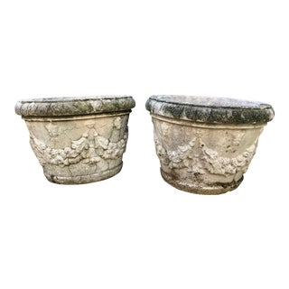 French Limestone Planters - a Pair For Sale