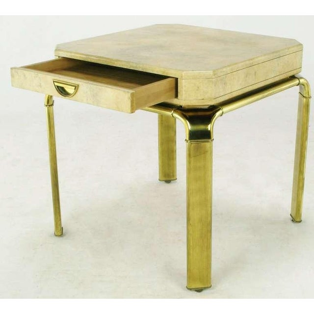 1980s John Widdicomb Cream Goatskin Side Table On Canted Brass Legs For Sale - Image 5 of 8