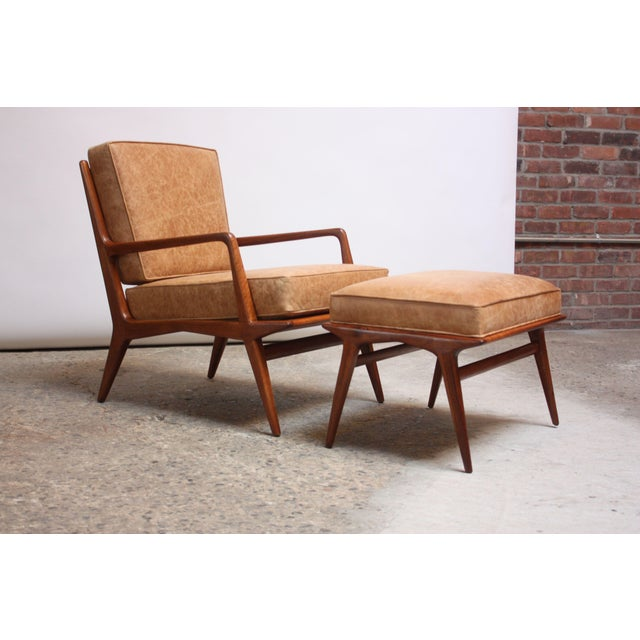 Italian Modern Carlo De Carli Walnut and Leather Lounge Chair and Ottoman For Sale - Image 13 of 13