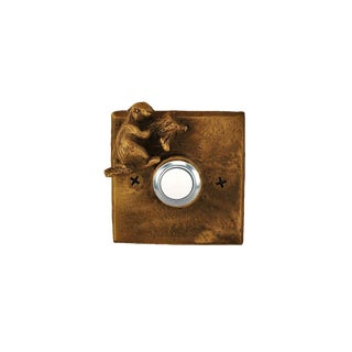 Square Beaver Doorbell with Traditional Patina For Sale