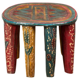 *Painted African Folk Art Stool or Low Table