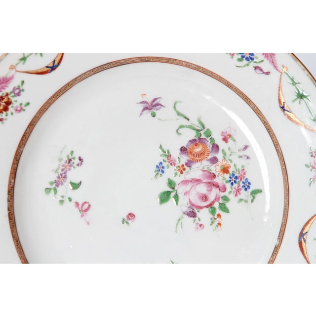 Pink Early 19th Century Chinese Porcelain Plates Set of Six For Sale - Image 8 of 13