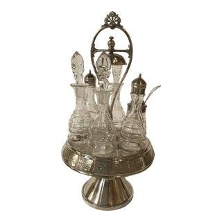 1900s Vintage Antique Glass Castor Cruet Silver Plate-Set of 7 For Sale