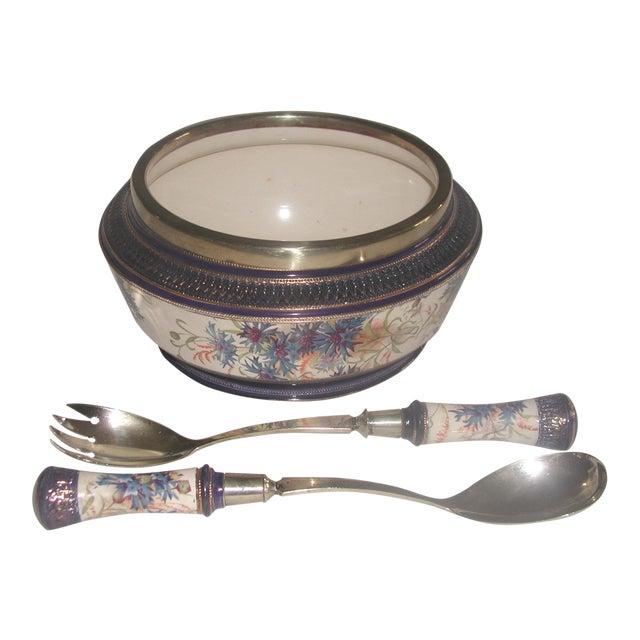 19th Century English Signed Porcelain Silver Salad Set - S/3 - Image 1 of 10