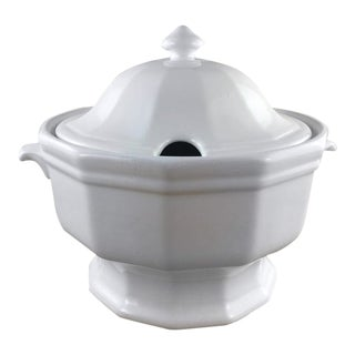 White Ironstone Soup Tureen by Pfaltzgraff With Ladle For Sale
