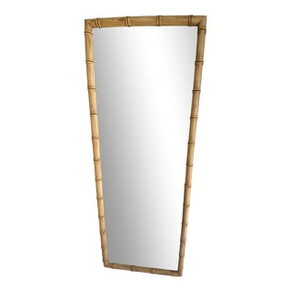 Mid-Century Modern Boho Chic Faux Bamboo Full Length Mirror For Sale