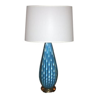 Beautiful Blue Seguso Table Lamp For Sale