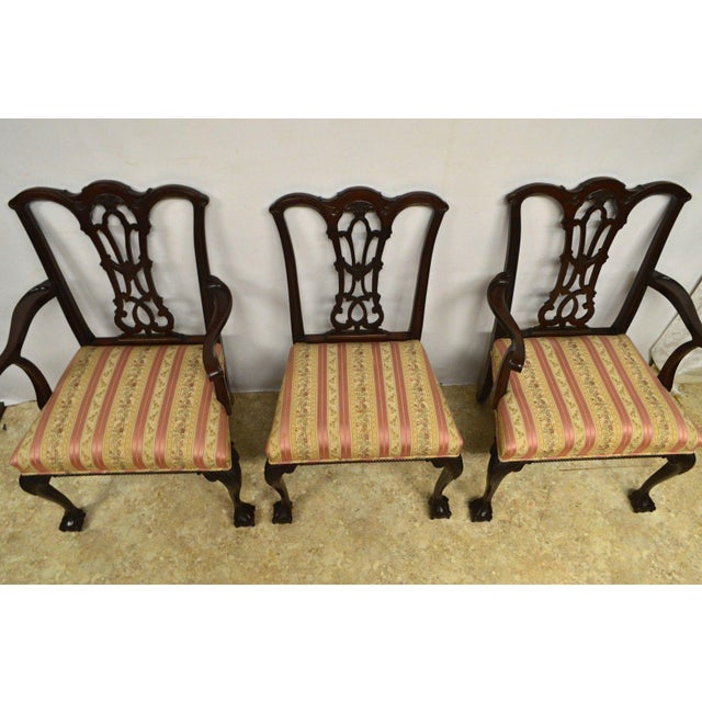 Solid Mahogany Chippendale Style Dining Chairs Ball & Claw Feet - Set of 6 For Sale In Philadelphia - Image 6 of 11