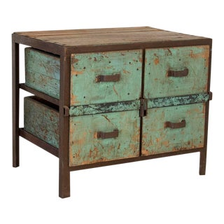 Antique Primitive Industrial Work Table With Original Painted Green Drawers For Sale
