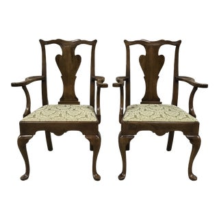Late 20th Century Statton Old Towne Solid Cherry Dining Armchairs - Pair For Sale