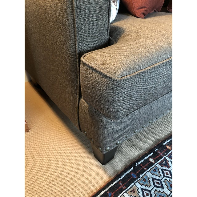 2010s Upholstered Custom Loveseat Sofa With Large Brass Nailheads For Sale - Image 5 of 9