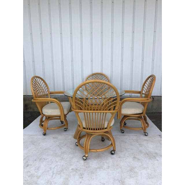 Vintage Glass Top Rattan Table and Wheeled Chairs Set - Set of 5 For Sale - Image 12 of 13