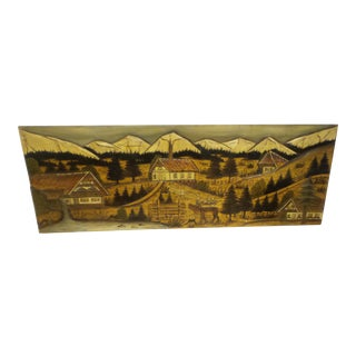1940's Black Forrest Large Wood Carved/Hand Painted Picture