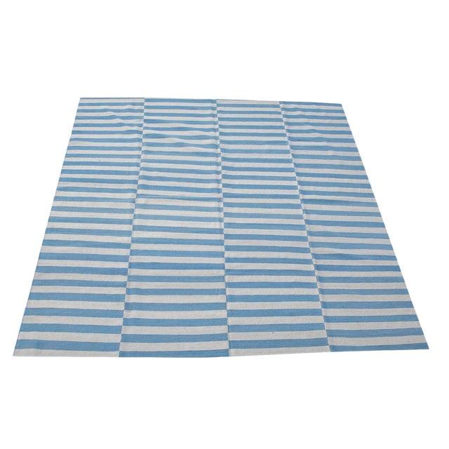 Afghan Handmade Blue & White Striped Flat-Weave Rug - 8′4″ × 9′5″ For Sale