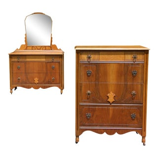 Vintage Kaplan's Furniture French Style Art Deco Dresser & Mirror + Highboy Set - a Pair For Sale