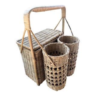 Natural Woven Wicker Rattan Caned Picnic Basket and Wine Caddy For Sale