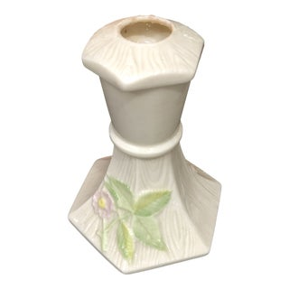 Vintage Belleek Wild Irish Rose Candlestick For Sale