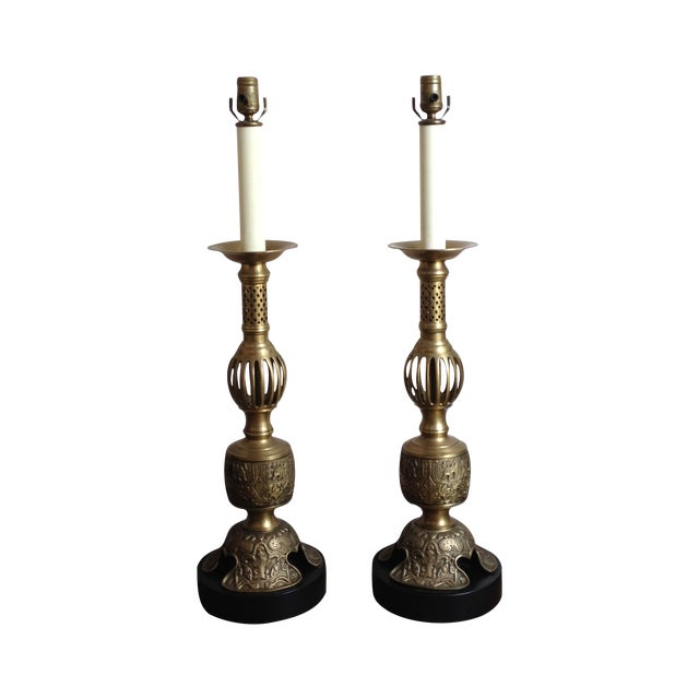Vintage Satin Brass Altar Stick Lamps - Image 1 of 4
