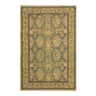 Istanbul Gaye Tan/Teal Turkish Hand-Knotted Rug -4'8 X 7'0 For Sale
