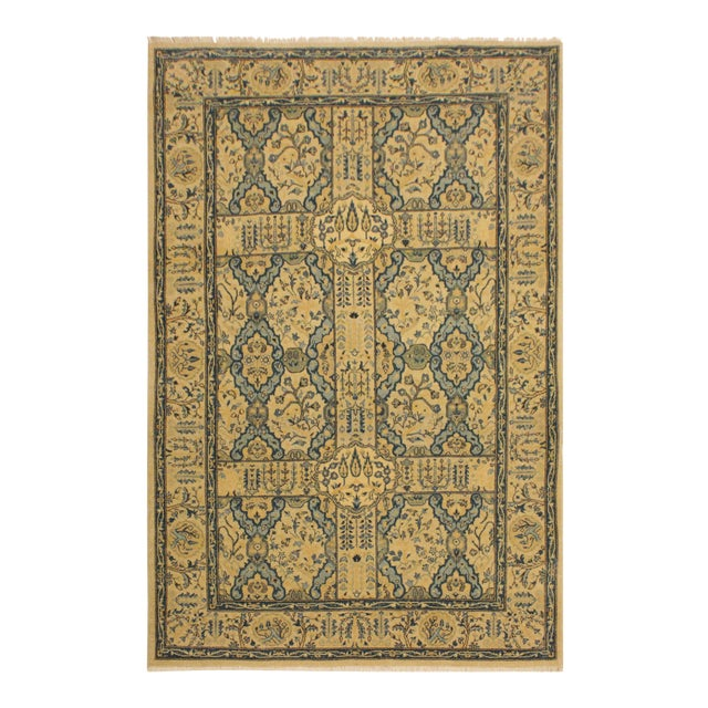 Semi Antique Istanbul Gaye Tan/Teal Turkish Hand-Knotted Rug -4'8 X 7'0 For Sale