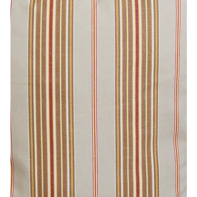 """French Striped Ticking Feather/Down Pillows 23"""" Square - Pair For Sale - Image 4 of 12"""