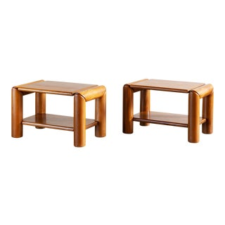 Pair of Elm Moderne Side Tables, France, 1970s For Sale