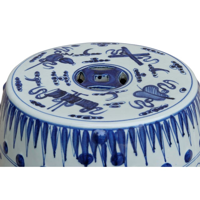 Asian Chinese Blue & White Ceramic Garden Stool For Sale - Image 3 of 7