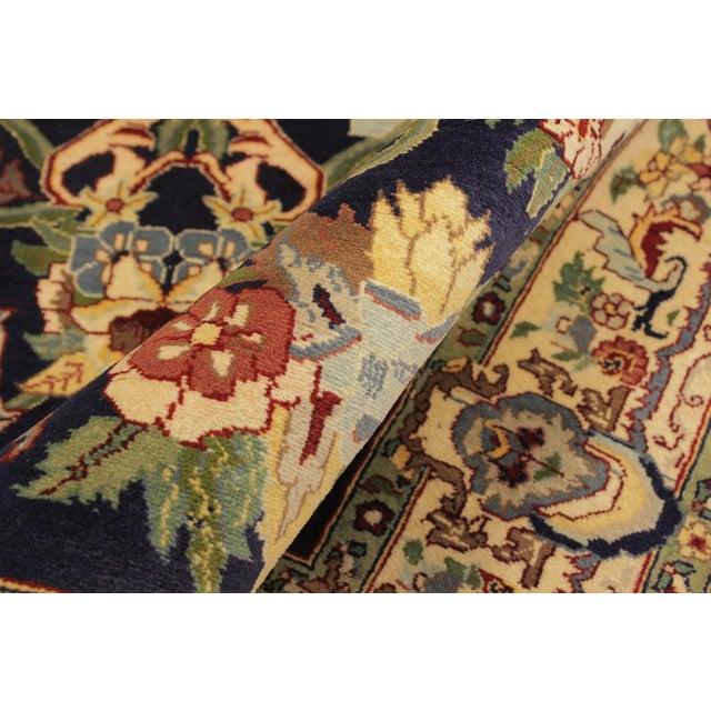 Contemporary Art Nouveau 1980's Anarkali Pak-Persian Steven Blue/Ivory Wool Rug - 4'1 X 6'1 For Sale - Image 3 of 8