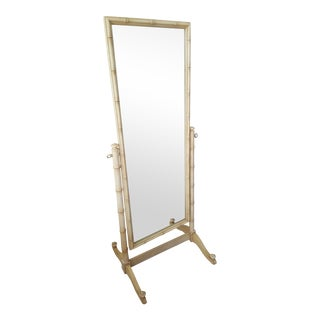 Late 20th Century Thomasville Faux Bamboo Standing Mirror For Sale