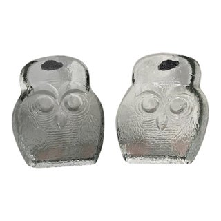 Vintage Blenko Owl Bookends -a Pair