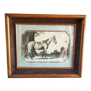 Man and His Show Horse Black & White Pencil Engraving Print in Vintage Wooden Frame For Sale