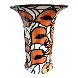 1930's Schramberg Leaf Pattern Pottery Vase For Sale