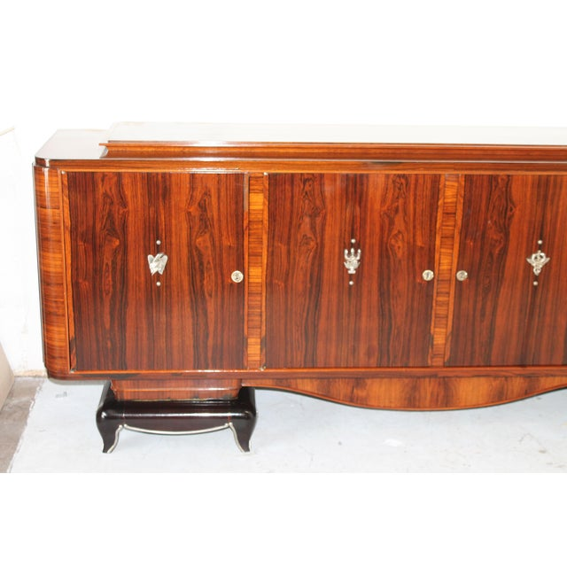 1930s Vintage French Art Deco Long Buffet Sideboard