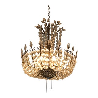 Mid-Century Modern Cascading Crystal Chandelier For Sale