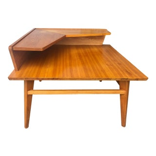 Vintage Mid Century Modern Two Tiers Corner Table For Sale