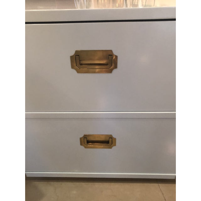 Gold Vintage Lane Furniture Newly Lacquered Powder Blue Brass Campaigner Nightstands Chests -A Pair For Sale - Image 8 of 13