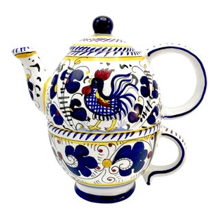 Rooster Themed Deruta Italian Ceramic Teapot / Mug Set La Terrine - a Pair